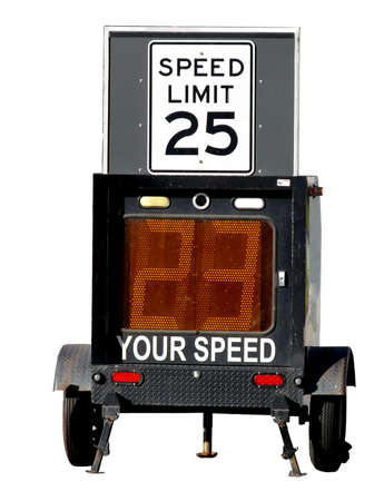 Police speed limit monitor trailer isolated on white Stock fotó - 2404507
