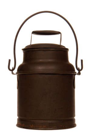 steel  milk: Antique steel milk can reproduction isolated over white