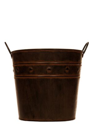 reproduction: Antique steel bucket reproduction isolated over white Stock Photo