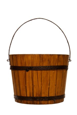 Antique wood bucket reproduction isolated over white Stok Fotoğraf