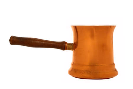 Antique copper sauce pan isolated over white Stock Photo - 2515012