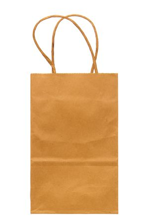 kraft: Small brown kraft paper gift bag with handles isolated on white