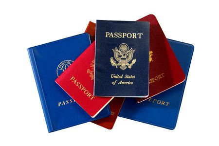 Stack of assorted international countries passport with US on top isolated on white Stock Photo - 2570345