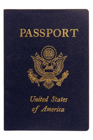 passports: American passport cover close up isolated on white