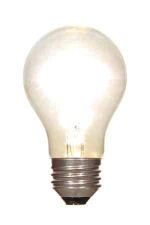 Illuminated glowing light bulb isolated on white