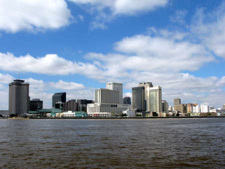 New Orleans downtown hotel area from the Mississipi River