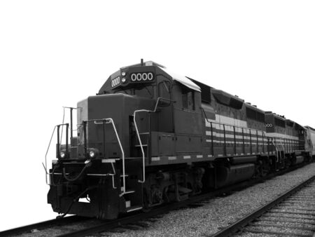 diesel locomotives: Freight train diesel electric locomotive in tandem with tracks over white background