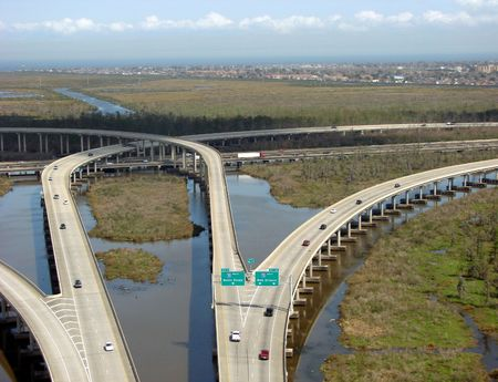bayou swamp: Super highway interchange bridge crossing Louisiana Bayou near New Orleans