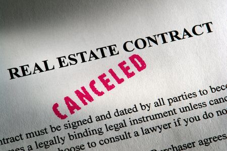 Canceled stamp imprint on a real estate contract