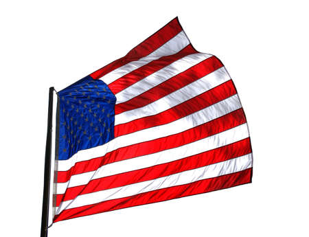 flapping: Backlit American flag flapping in the wind over white background