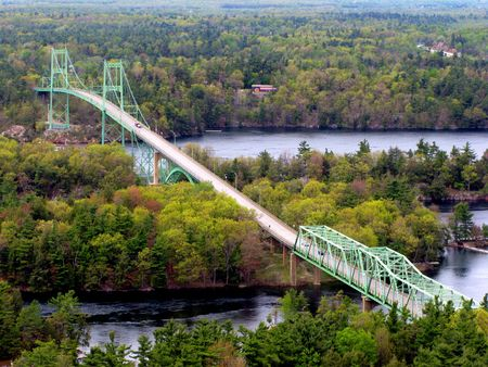 Thousand Islands International Bridge in Ontario with Ivy Lea Park, Georgina Island and Constance Island, viewed from above