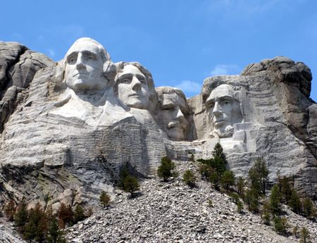 mount rushmore: Mount Rushmore National Memorial in South Dakota featuring four famous US presidents