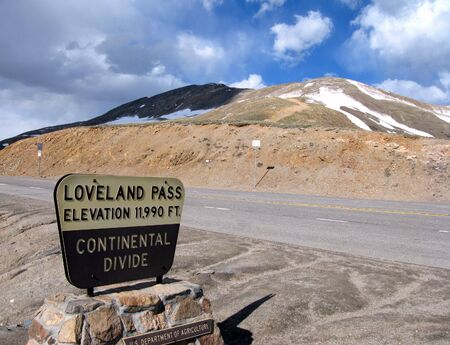Continental Divide sign at Loveland Pass in the Rocky Mountains in Colorado