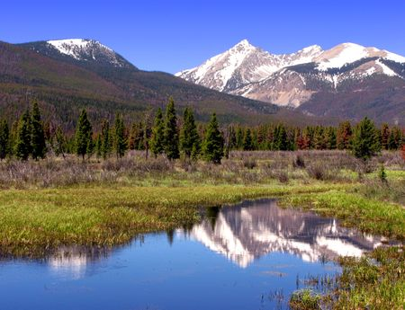 Rocky Mountains National Park scenic landscape with river and meadow photo