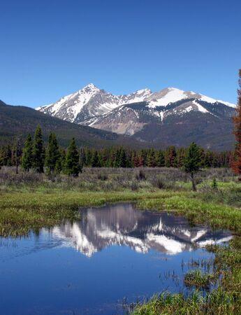 川とロッキー山国立公園内の牧草地と風光明媚な山の風景 写真素材