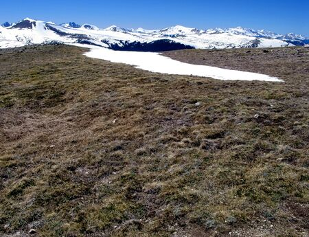 Rocky Mountains high tundra and mountain landscape with snow