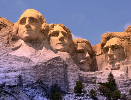 Mount Rushmore National Memorial in South Dakota featuring four famous US presidents (fitered image) Editorial