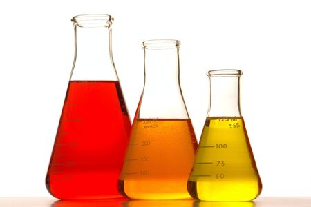 Glass Erlenmeyer flasks in a research lab