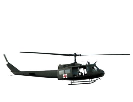 Medic army Bell Huey UH-1 series Iroquois helicopter Stock Photo