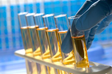Scientist hand with glove holding a glass test tube in a science research lab Stock Photo