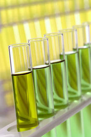 Group of glass test tubes on a rack in a science research lab Stock Photo
