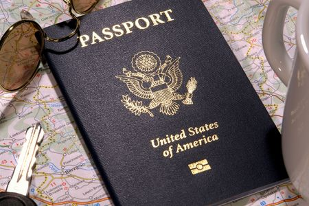 United States of America new electronic passport book in foreign travel concept setting photo