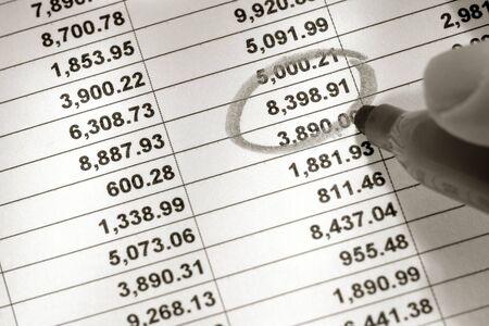 Spreadsheet met de kolommen van de financiële cijfers en individueel nummer omcirkeld met merkervaccin