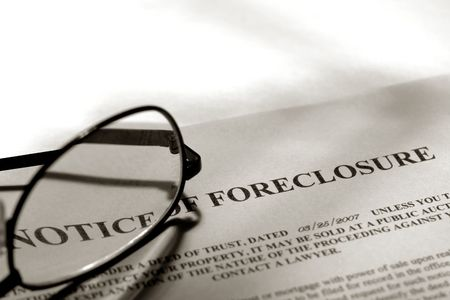 eviction: Real estate foreclosure notice with glasses