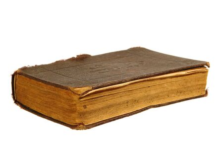 Old antique leather bound book isolated on white
