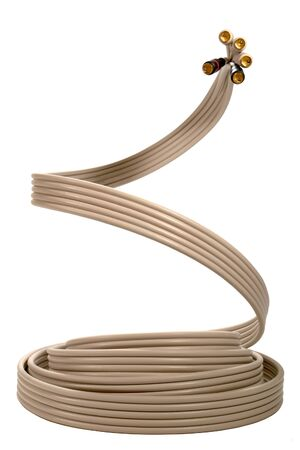 Coaxial RCA type male jacks with cable resembling a cobra snake photo