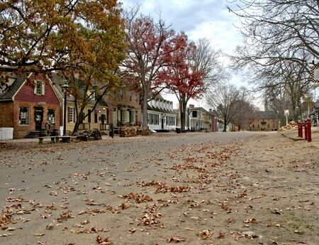 historic district: Empty deserted Duke of Gloucester Street in historic district of Colonial Williamsburg in Virginia (editorial)