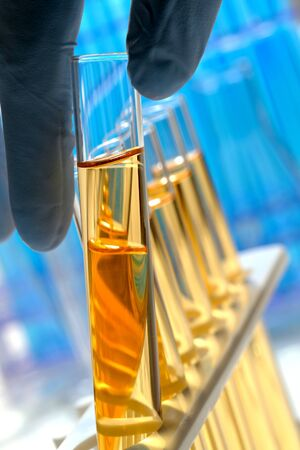 Scientist hand with glove holding a glass test tube in a science research lab    Stock Photo - 4082487