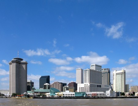 New Orleans downtown hotel area on a sunny day from the Mississippi River photo