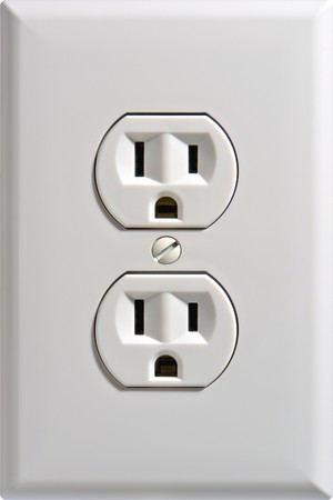 North American white electric wall outlet receptacle with ground and polarized prong insert photo