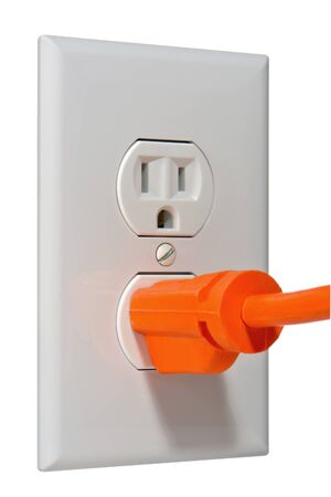 North American standard 110 volt electric wall outlet receptacle with plug inserted