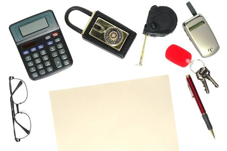Real estate agent still life with Realtor tools: glasses, calculator, lock box, tape measure, cell phone, keys, pen and blank letter to insert text Stock Photo - 4097257