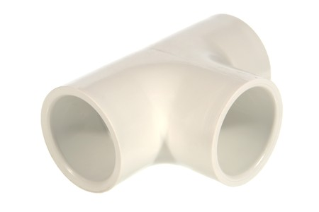 PVC plumbing house drain pipe tee connector isolated over white