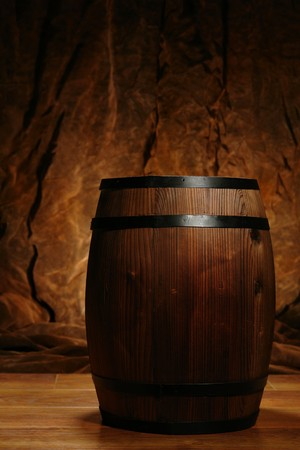 Old fashioned wood barrel in nostalgic setting