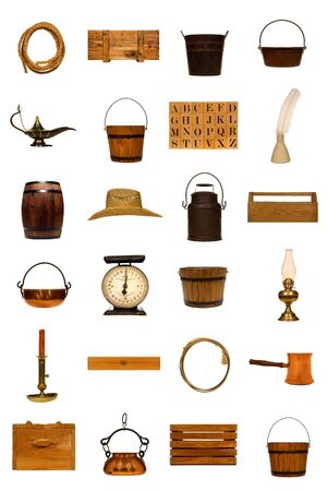 oil tool: Collection of assorted antique objects isolated on white: rope, crate, bucket, kettle, lamp, alphabet, blocks, ink, well, feather, barrel, hat, straw, can, tool, box, scale, oil, candle, candlestick, lasso, pan, Stock Photo