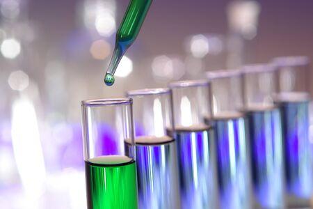 液体の滴と科学研究室で実験を試験管にピペットします。