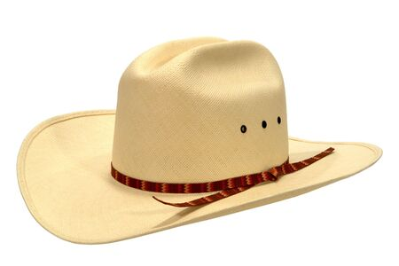 cowgirl and cowboy: White straw Western rodeo cowboy hat isolated on white Stock Photo
