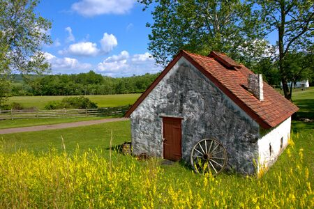 northeast: Rural Northeast American country landscape with old house