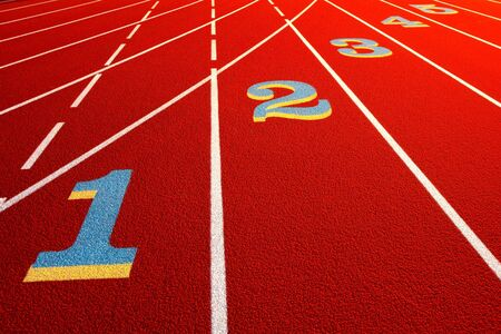 race track: Lane numbers painted on an athletic stadium race track Stock Photo