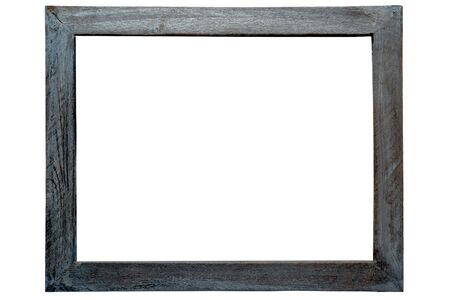 on gray: Old distressed antique grunge grey wood picture frame isolated on white