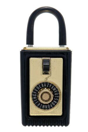 lockbox: Traditional real estate combination key holder lock box isolated on white