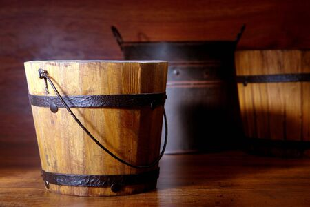 general store: Antique wood bucket reproduction on general store shelf