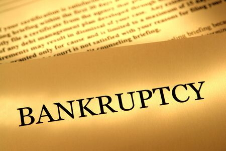 broke: Bankruptcy filing legal notice letter Stock Photo
