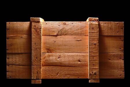 Old distressed wood shipping crate isolated on black