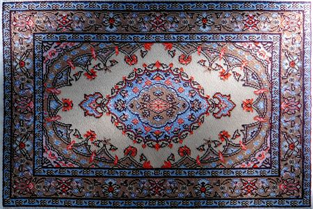 Miniature micro weaved traditional oriental rug reproduction