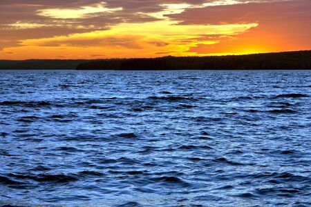 Spectacular evening sky sunset afterglow over lake Wallenpaupack in the Pocono Mountains of Pennsylvania Stock Photo - 6564195